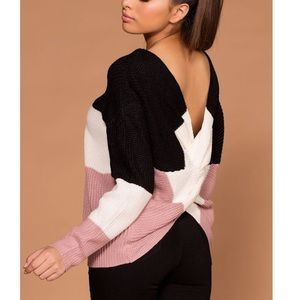 💕Happy Forever Black Pink Cross Cozy Sweater